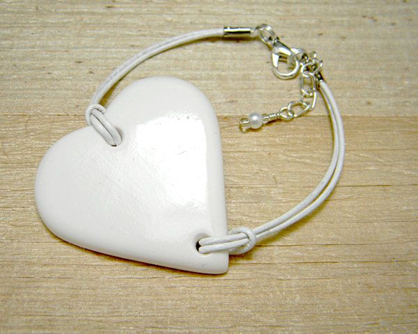 White heart and leather bracelet   polymer clay by VMDEmporium, £12.00