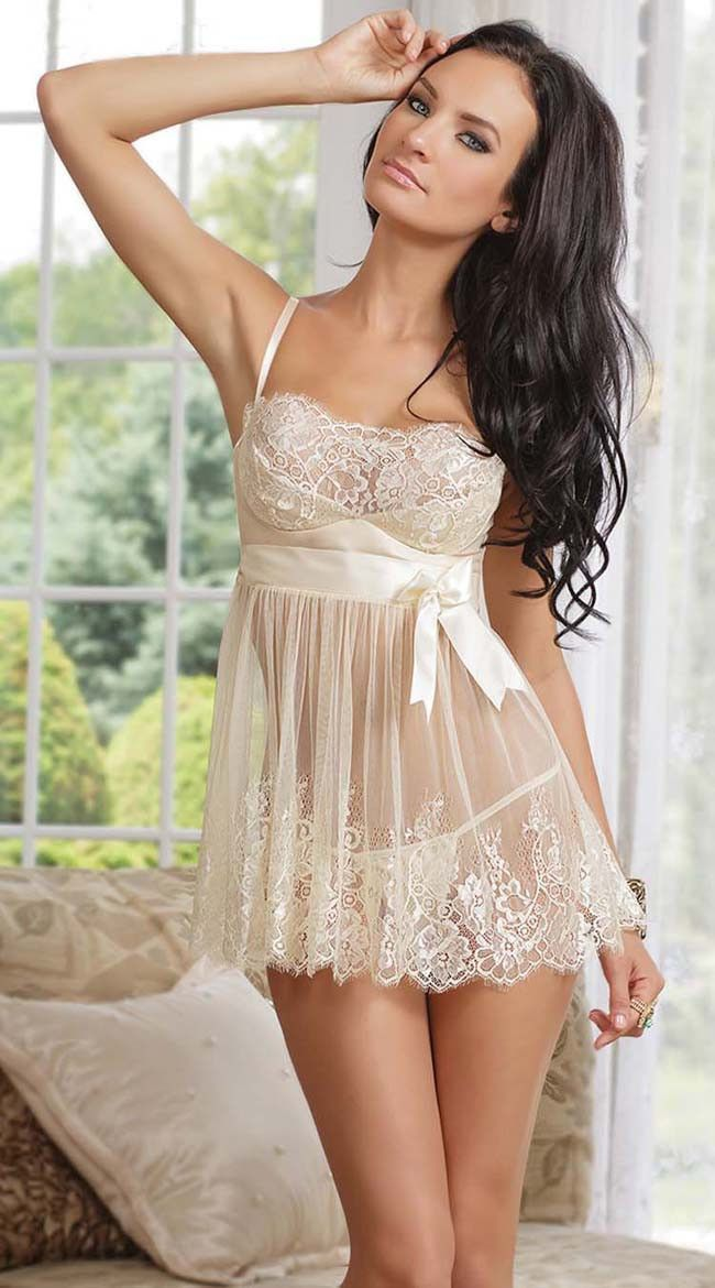Sexy Women  s Night Dress Vintage Nightgown White Lace Lingerie Baby Doll  ITC672 - Sleepwear   Robes 07d6f97bb
