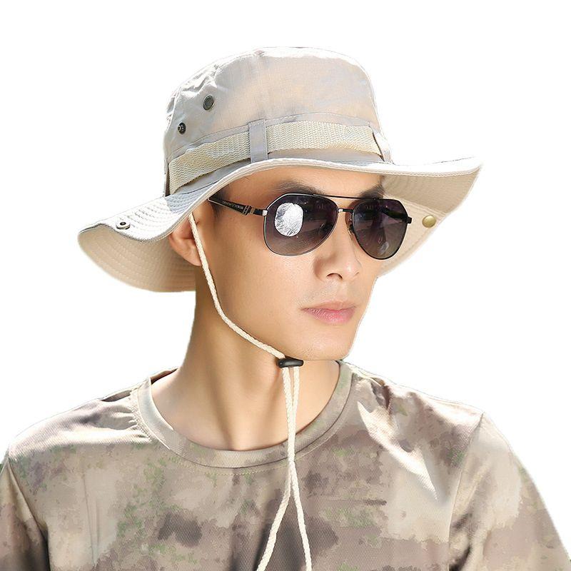 2018 Fashion Men Sun Hats Fashion Summer Beach Fisherman Hats Outdoor  Anti-UV Sun Protection Bucket Hat Holiday Sun Cap for Men 28f1f981cd9