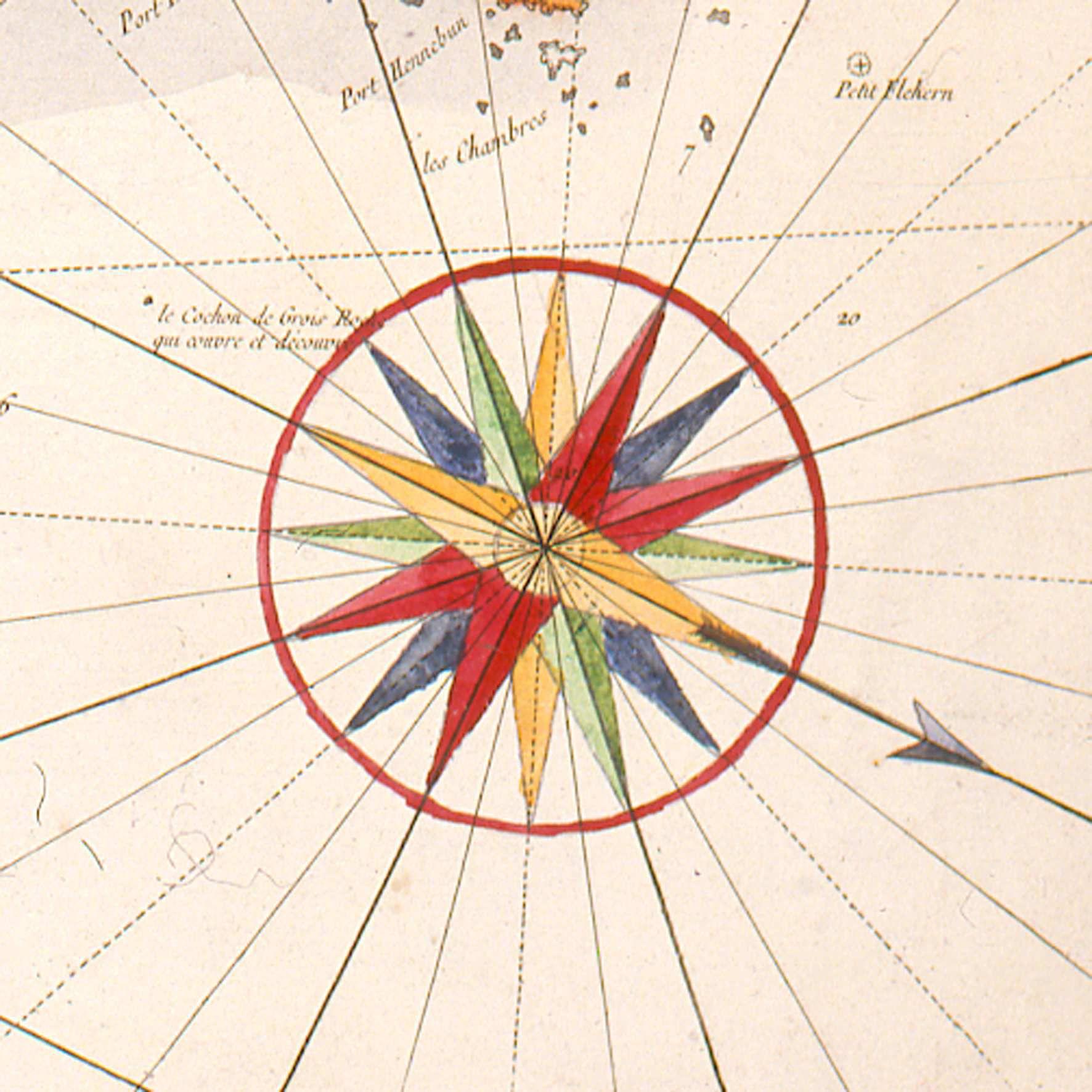 Rose Des Vents Detail D Une Carte De Belle Ile 1761 C Musee Des Plans Reliefs Cote D160 Rose Des Vents Cartes Anciennes Carte