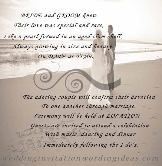 Free Beach Wedding Invitation Wordings Samples With Images