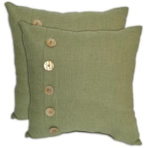 Plantation Patterns Green Textured Patio Throw Pillow With Button  (2 Pack) 7638