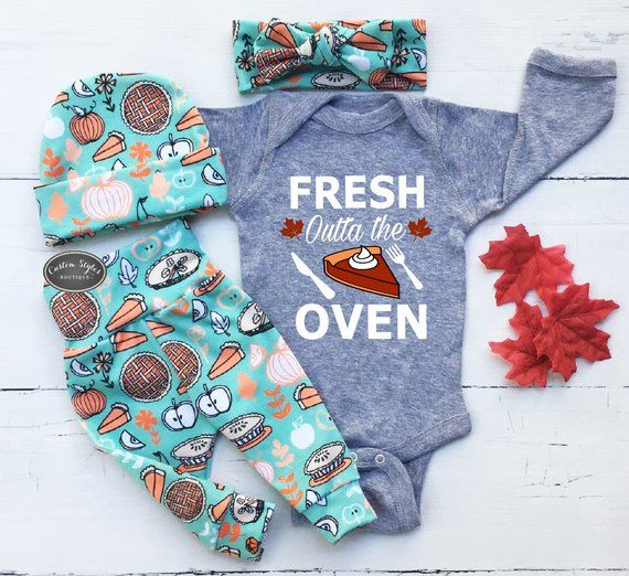 Gender Neutral Thanksgiving Outfit, Gray Bodysuit, Teal Leggings, Hat and Headband With Pies,Baby Girl Or Boy, Thanksgiving,Baby Coming Home