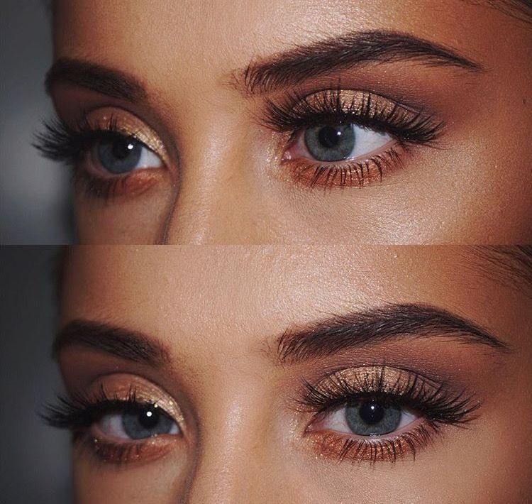 Rose gold eyeshadow fit for a tanned makeup look (With