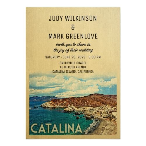 Catalina Island Weddings: Catalina Island Wedding Invitation Vintage