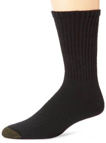 Gold Toe Men's Casual Crew 3-Pack, Black/Black/Black, Sock SIze 10-13 Gold Toe. $16.75. Combed Cotton for breathable comfort. Sock size 10-13 fits shoe sizes 6-12.5. Heathers:  64% Cotton, 22% Acrylic, 13% Stretch Nylon, 1% Spandex.  Solids:  82% Cotton, 16% Stretch Nylon, 1% Polyester, 1% Spandex. Reinforced heel and toe. cotton. Machine wash warm, tumble dry low
