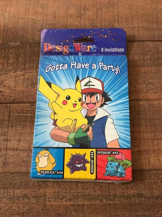 1990s Pokemon Invites, Vintage Pokemon Supplies, Pikachu Birthday