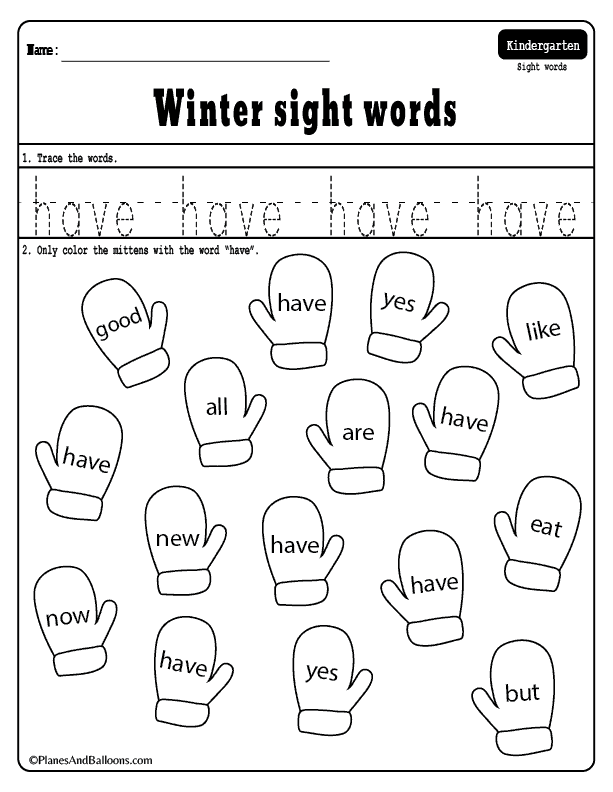 Winter Sight Words Worksheets For Your Kindergarten Lesson Plans Winter Sight Words Sight Word Worksheets Kindergarten Lesson Plans