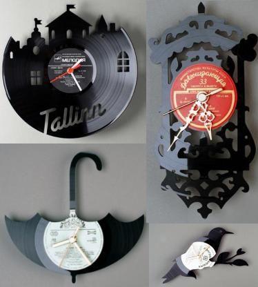 Ideas para reciclar discos de vinilo relojes decorativos - Discos vinilos decorativos ...
