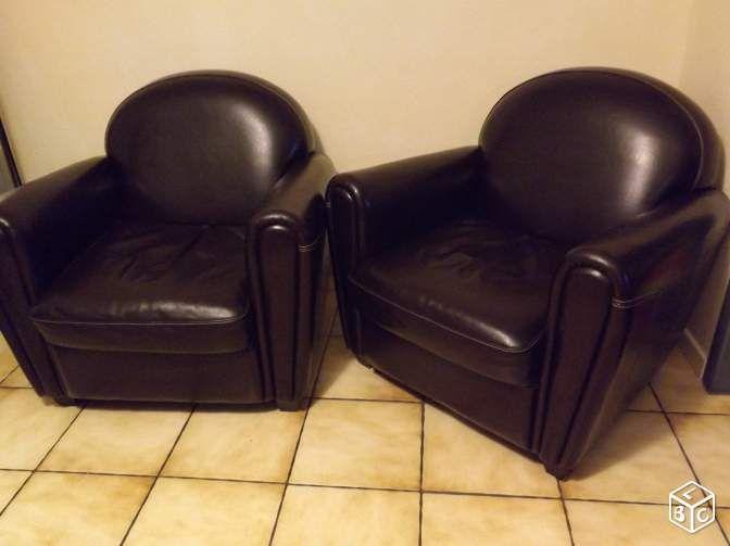2 fauteuils en cuir forme club vintage Ameublement Puy-de-Dôme - leboncoin.fr