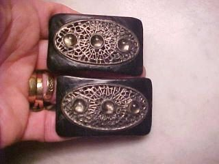 Vintage ART DECO Flapper Shoe Buckles Leather with by CHEAPFRILLS1