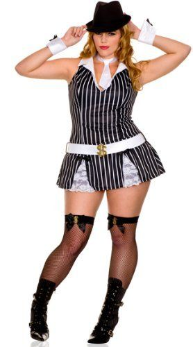 music legs plus size sexy gangster girl costume blackwhite 3x4x by music halloween - Cheap Plus Size Halloween Costumes 4x