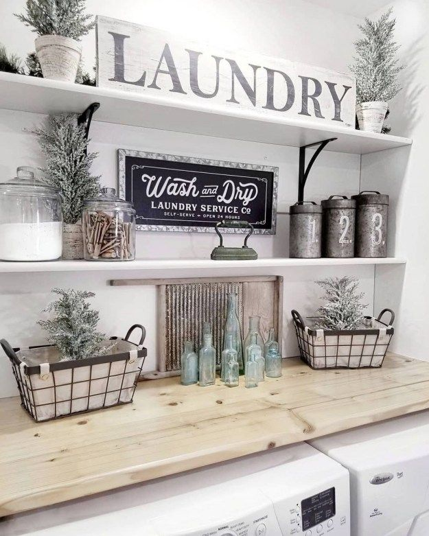 35 Awesome Farmhouse Laundry Room Design Ideas - HOMYFEED