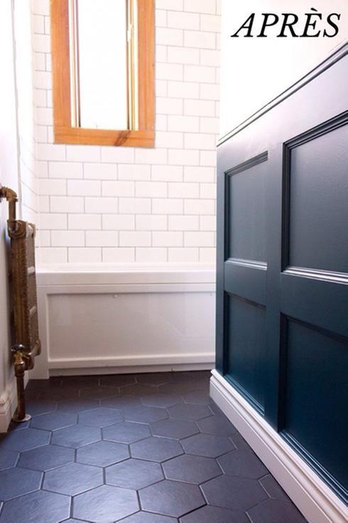 Avant-après  une salle de bain avec cachet vintage