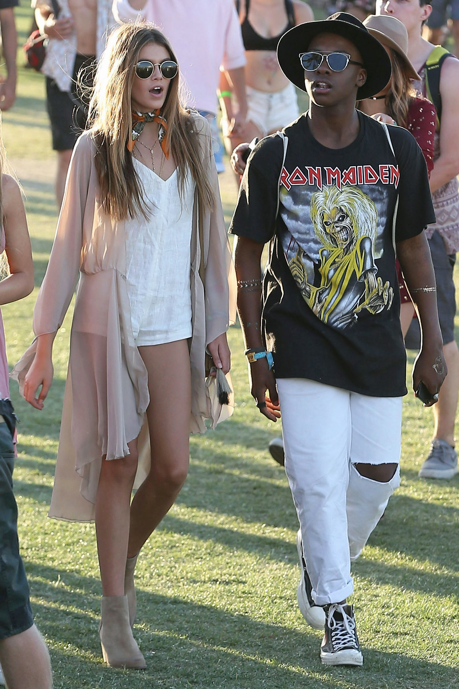All The Celebrities At Coachella This Year | Kaia Gerber White Romper Outfit And Coachella