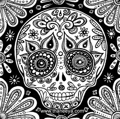 sugar skull coloring pages | day of dead skull. day-of-the-dead-skull-b-w.jpg