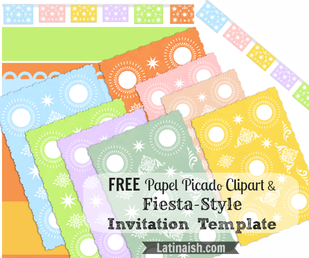 free papel picado clipart and fiesta style invitation templates totally free to use modify and. Black Bedroom Furniture Sets. Home Design Ideas