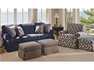 Smith Brothers Living Room Three Cushion Sofa 132 At Penny Mustard