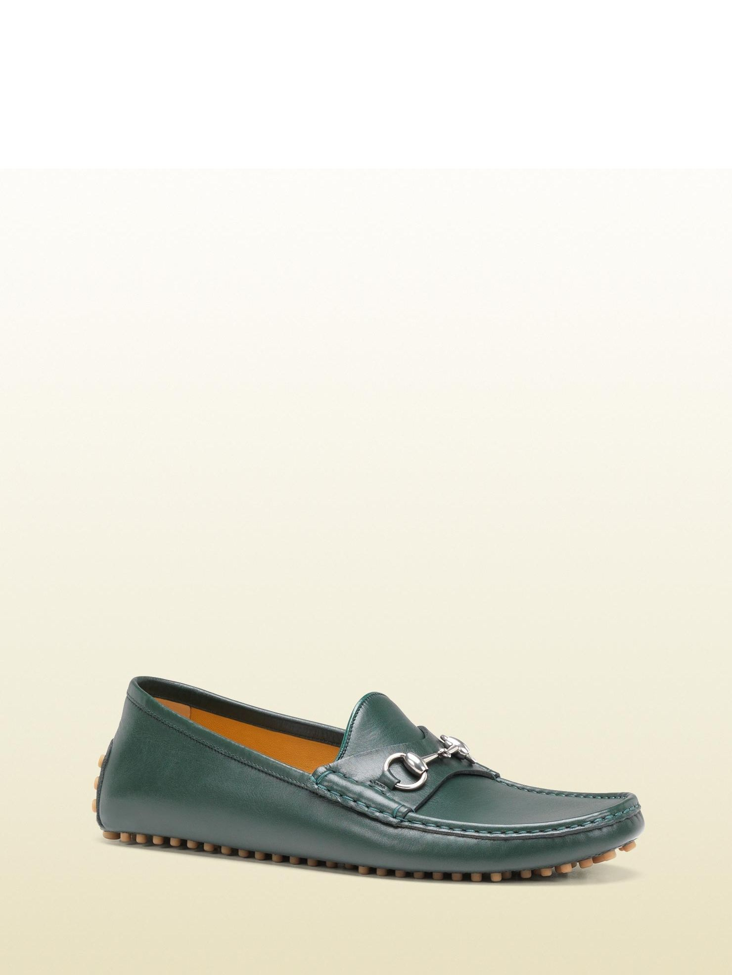 065d7f04e4c Gucci - 236936 A9L00 3020 - horsebit driver - green leather Made in Italy  silver horsebit hardware pebbled rubber sole with gucci logo detail