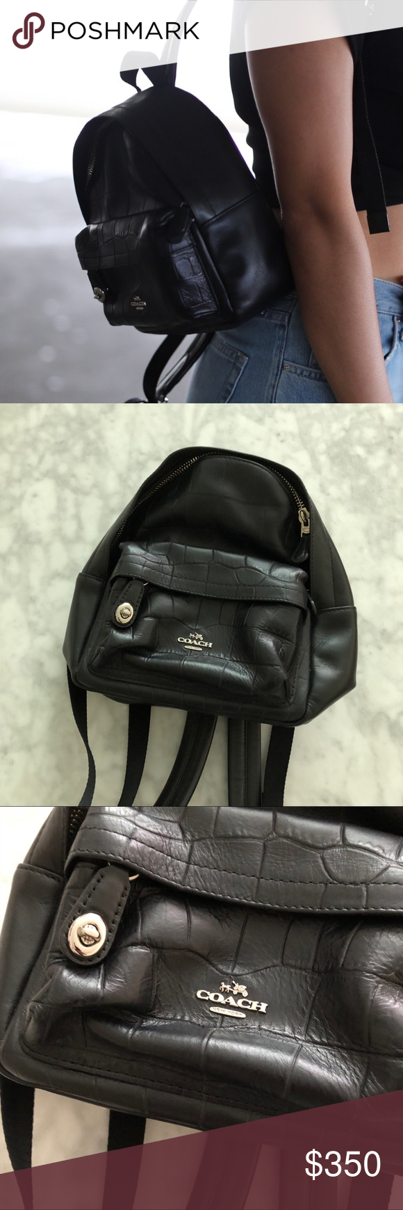 32b83ea3e4 Coach Mini Campus Backpack Croc Only worn 3 times! Coach mini campus  backpack in excellent condition! Croc embossed leather! 7.5 inches long! 9  inches high!