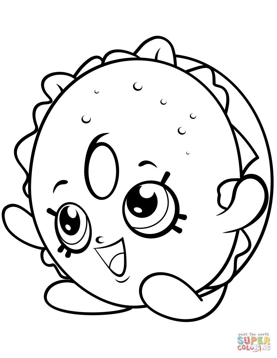 Bagel billy shopkin coloring page free printable coloring pages