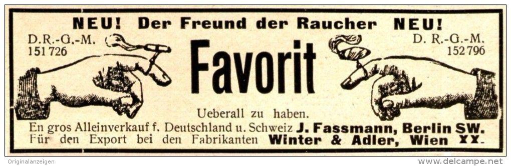 Original-Werbung/ Anzeige 1901 - FAVORIT CIGARETTEN / CIAGARREN - HALTER / FASSMANN - BERLIN - ca. 90 X 25 mm