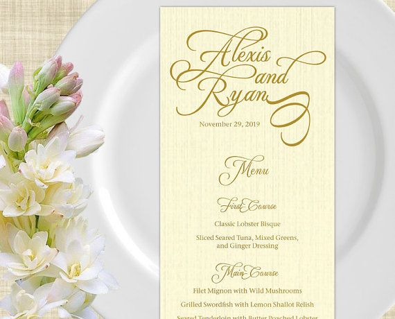 Printable Wedding Menu Card Wedding Menu Template Diy Wedding