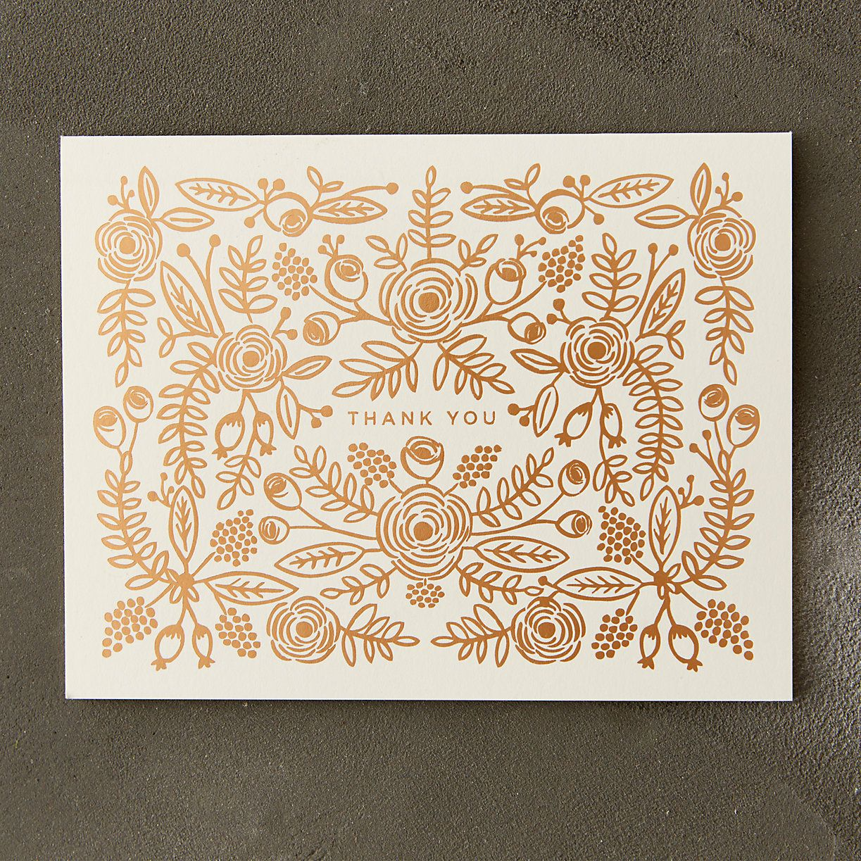Elegantly embellished in rose gold foil, these floral greetings from Rifle Paper Co. are a graceful way to say thanks.