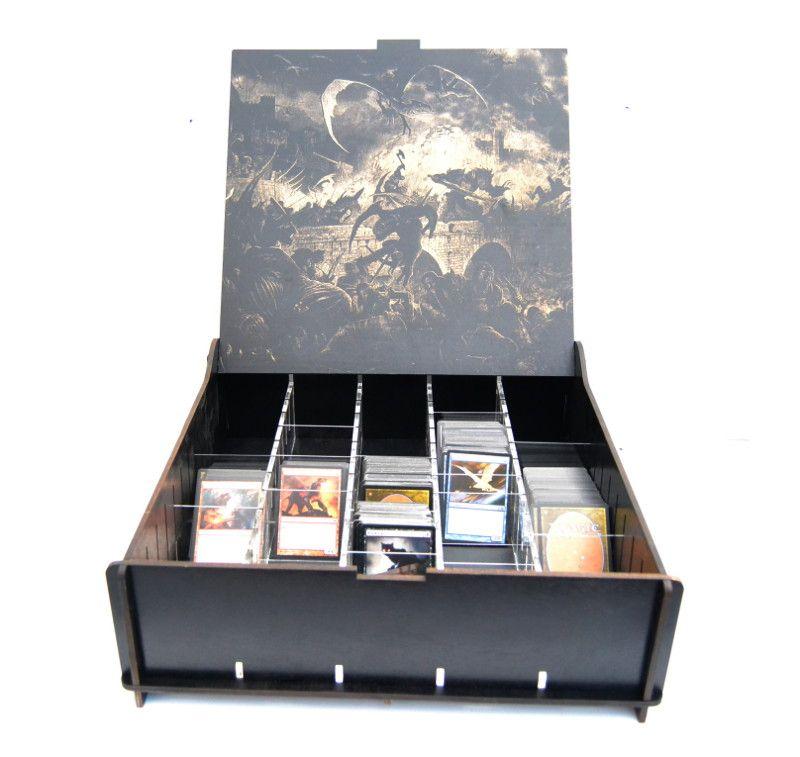 BCW White Deck Box with Matching Divider Black Dragon 100 Card Storage Case Verzamelingen kaartspellen