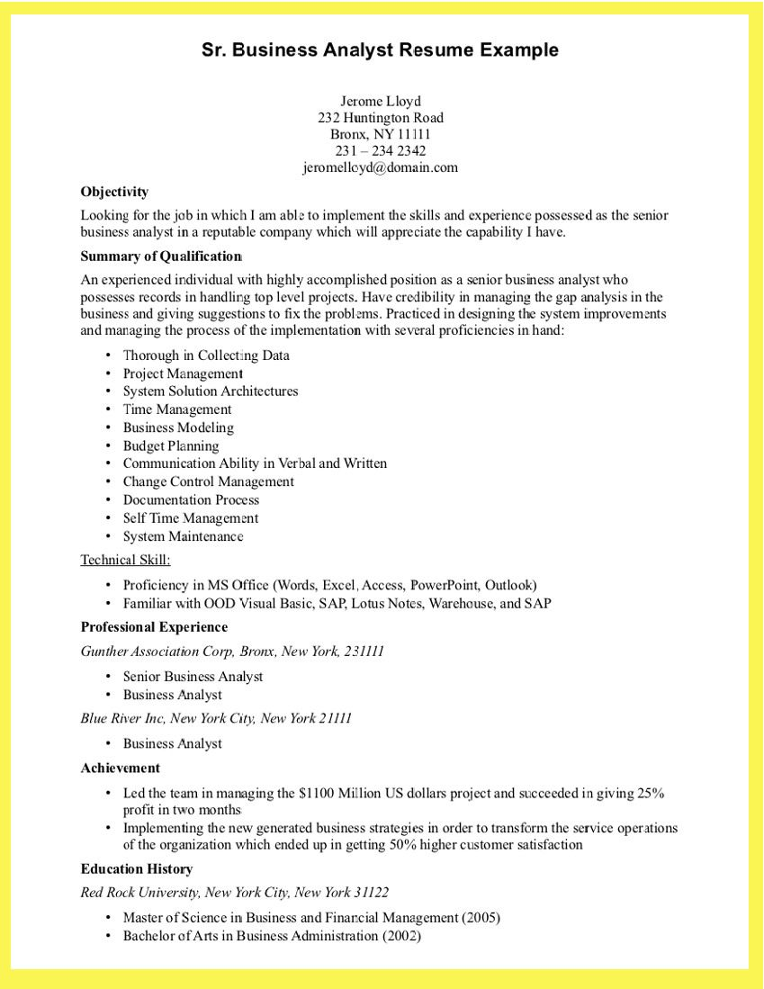Business Teacher Cover Letter 12 Cool Samples Of Business Analyst Resume  Example  Pinterest