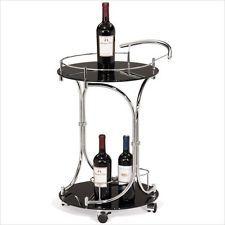 Leick Furniture Favorite Finds Round Wine Serving Black Gls & Chrome Bar Cart