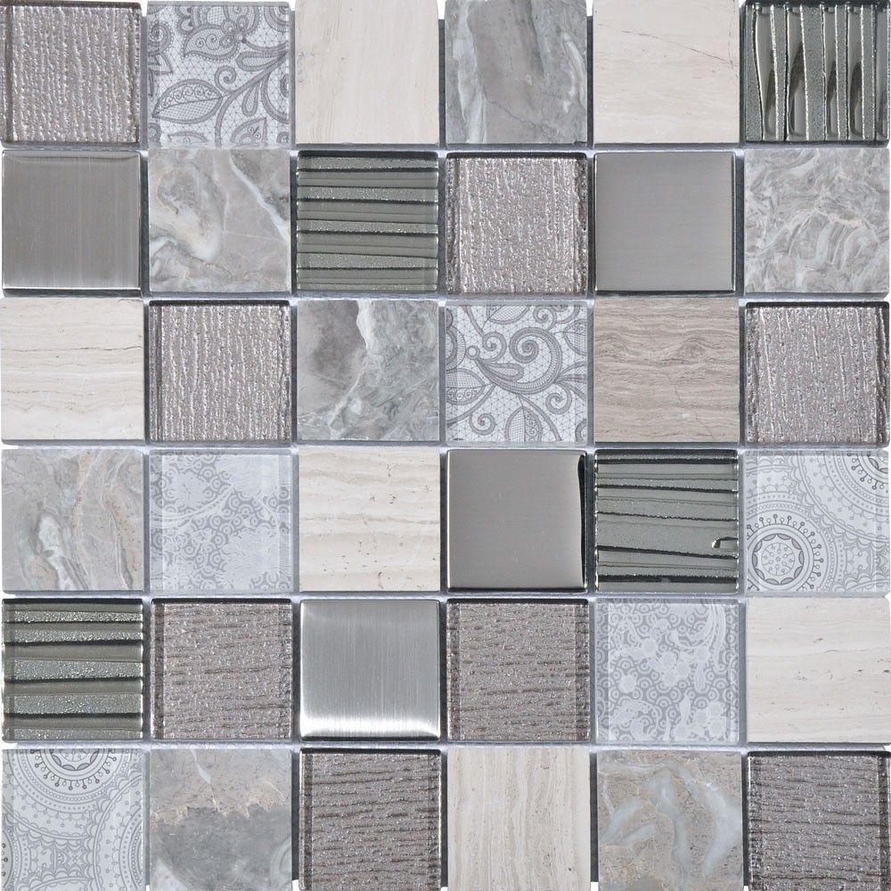 Aspen Grey Mix Mosaic Tiles 300x300x8mm Tiles Metal Mosaic Tiles Metallic Tiles Bathroom Glass Mosaic Backsplash