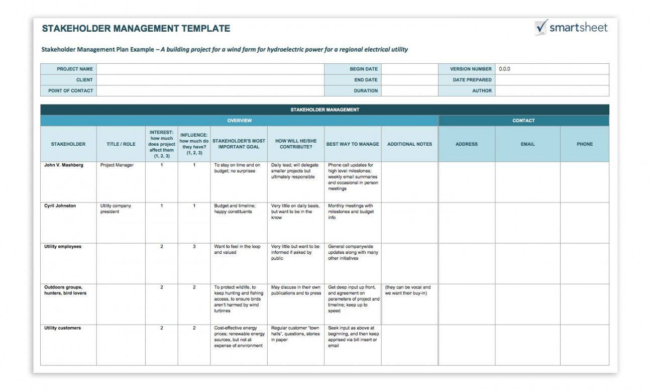 How To Create A Stakeholder Management Plan Smartsheet Stakeholder