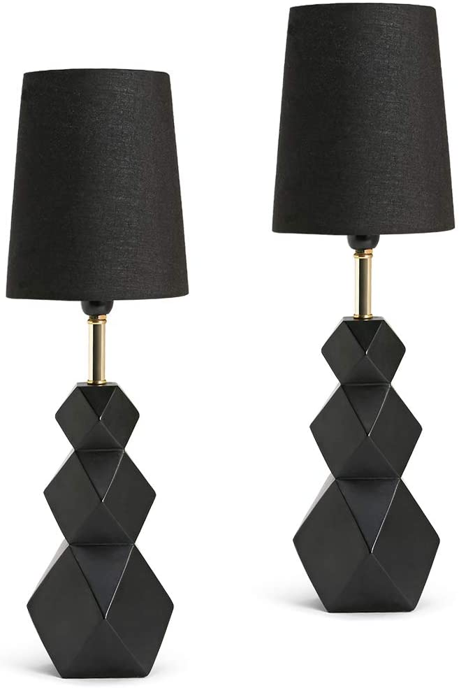 Lamfani Ginga Black Bedroom Small Lamp Sets Modern Kid Bedside Lamp Set Of 2 Resin Base With 3w Led Bulb 2 Pack Amazon Small Bedroom Lamps Lamp Sets Lamp