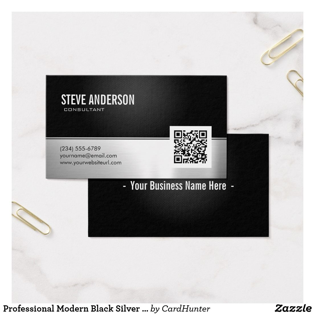 Professional Modern Black Silver Metallic QR Code Business Card ...