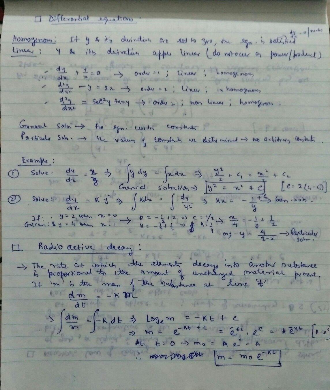 Differential Equations Radioactive Decay