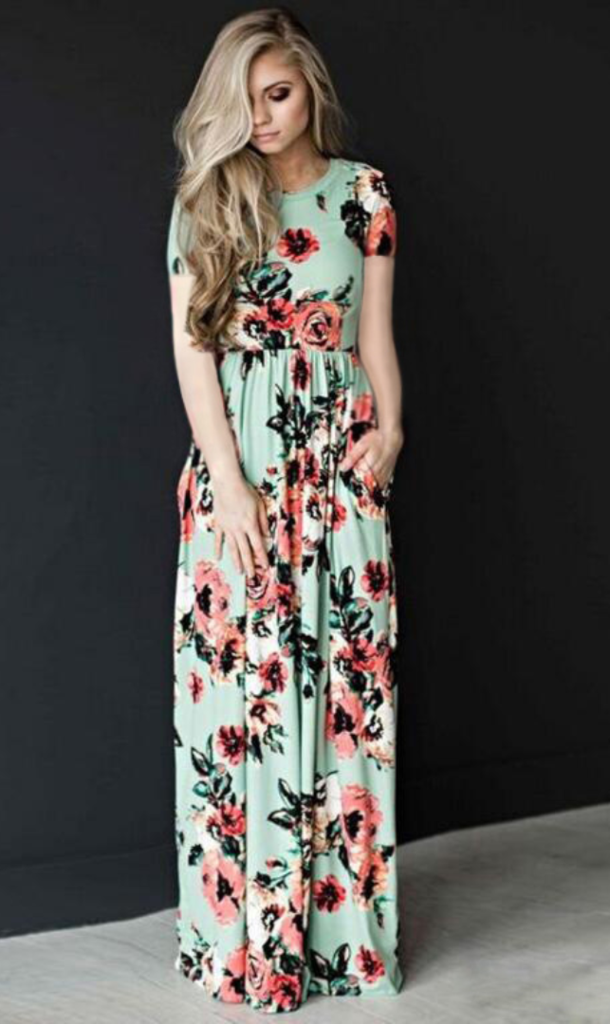 9fdf74b7bc034 Navy Floral Long Sleeve Maxi Dress in 2019 | 2019 Most Trending ...