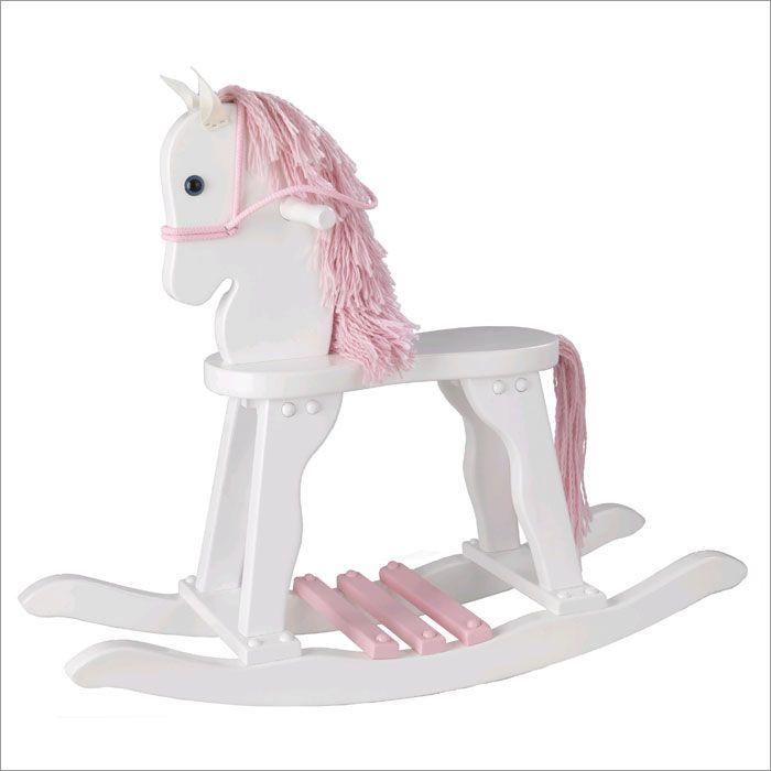 Girls Kids Childrens Wooden Nursery Bedroom Furniture Toy: Derby Rocking Horse - White & Pink