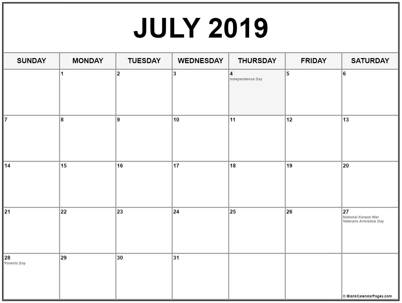 Collection Of July 2019 Calendars With Holidays Calendar