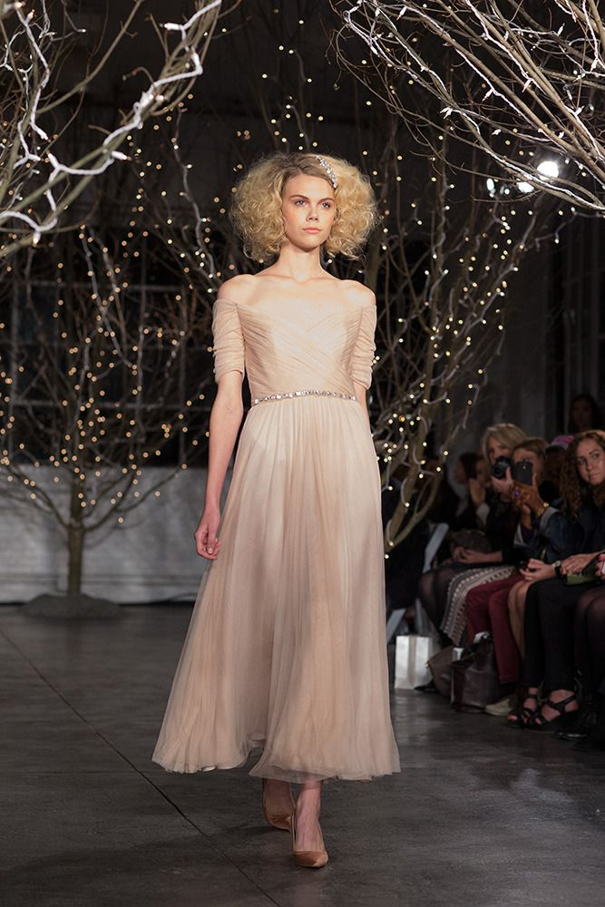 tea length blush colored wedding dress by http://www.jennypackham.com,
