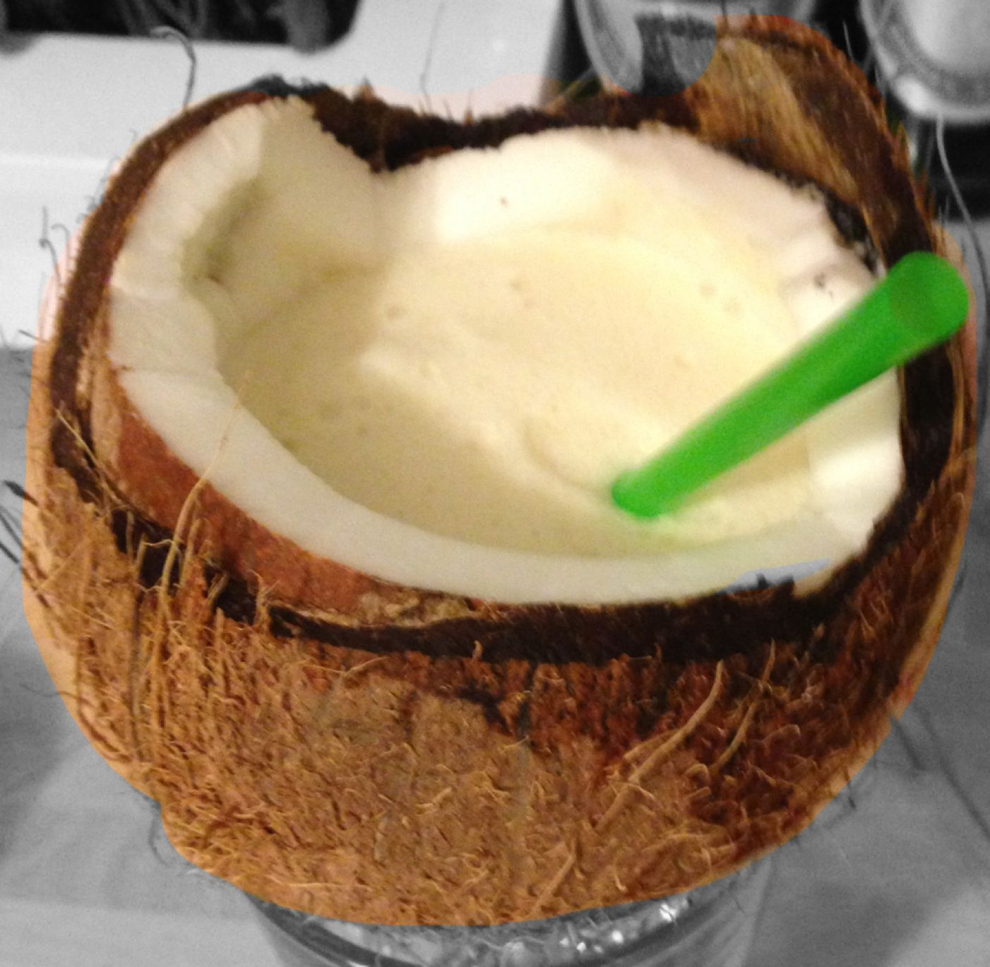 Cocktails in coconuts.