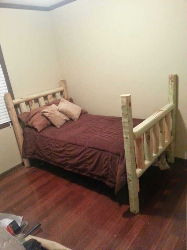 landscape timber bed i built for guests room