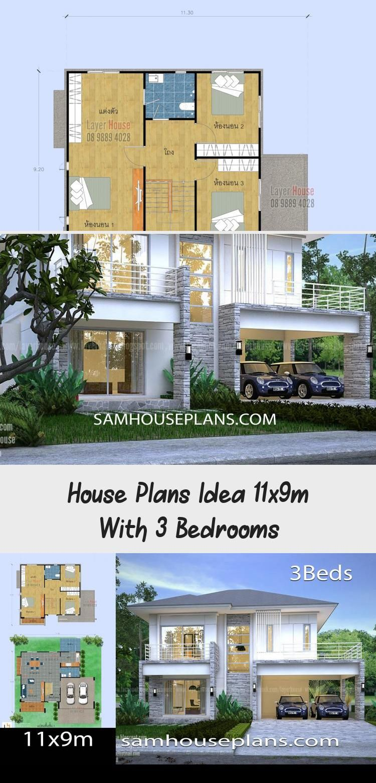 House Plans Idea 11x9m With 3 Bedrooms Sam House Plans Modernhouseplansflatroof Modernhouseplansminimalist Modernhous In 2020 House Plans Modern House Plans House