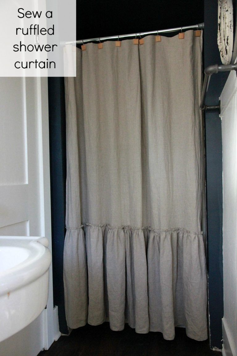 Sew A Ruffled Linen Shower Curtain Pottery Barn Knockoff Shabby