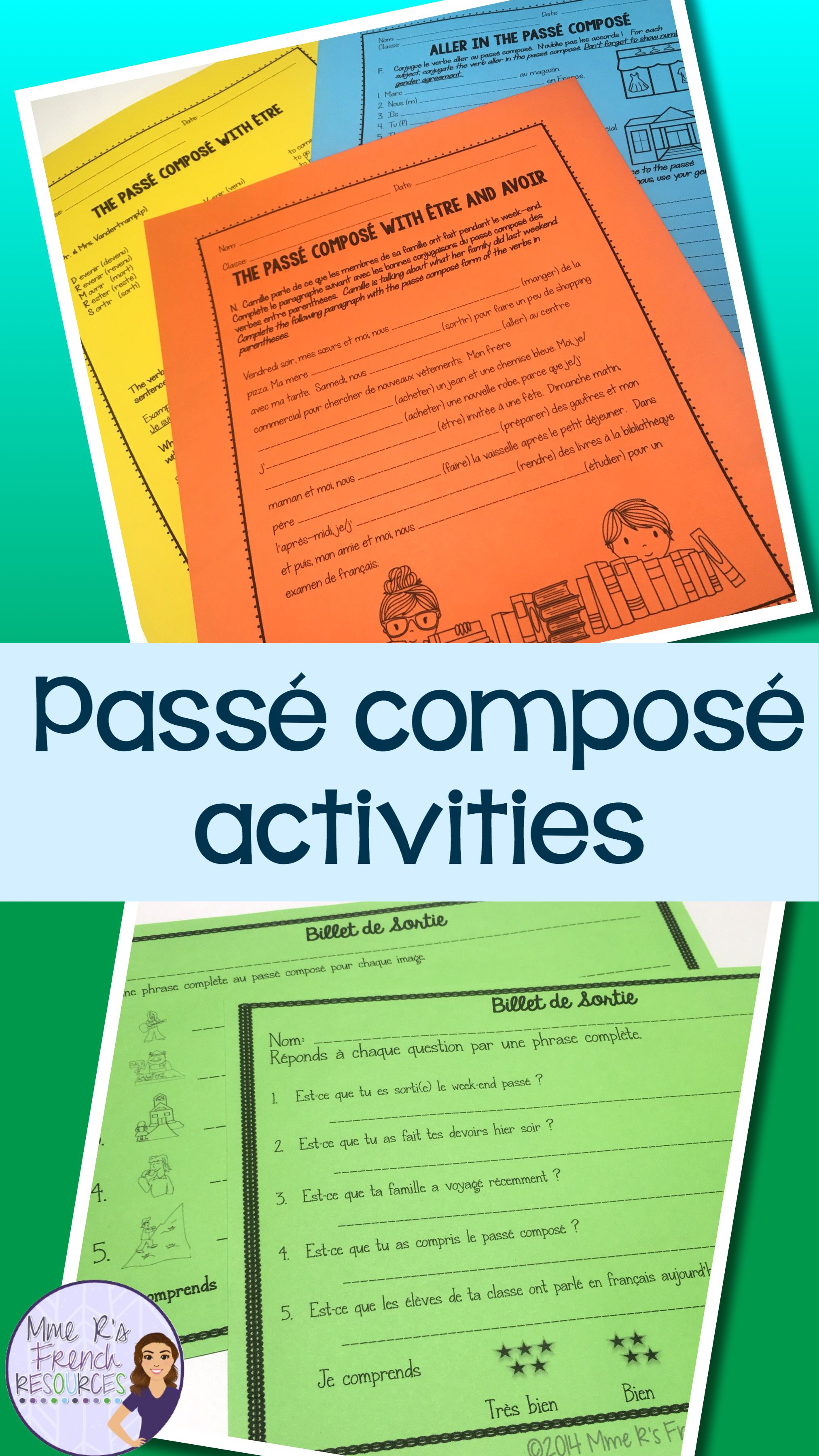 French Passe Compose Notes And Activities Packet