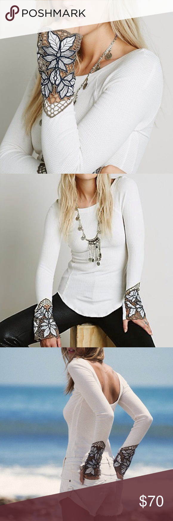 Free People lace cuff thermal Beautiful, soft, open back thermal. Brand new, never worn! Size large, but material is stretchy enough, it will fit a medium well also. Exact colors as in photos above. Free People Tops Tees - Long Sleeve