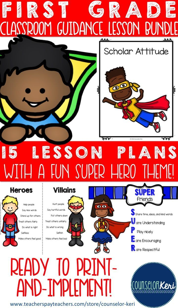 Superhero Themed School Counseling Classroom Guidance Lesson Bundle School Counseling Guidance Lessons School Psychology Tools