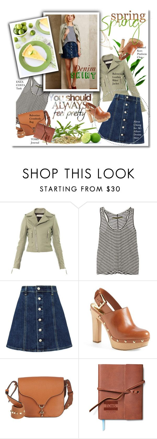 """""""Always Feel Pretty: Spring Denim Skirt"""" by junglover ❤ liked on Polyvore featuring Balenciaga, Enza Costa, AG Adriano Goldschmied, MICHAEL Michael Kors, Valentino, TOMS, Lulu Frost, denimskirt, polyvoreeditorial and polyvorecontest"""