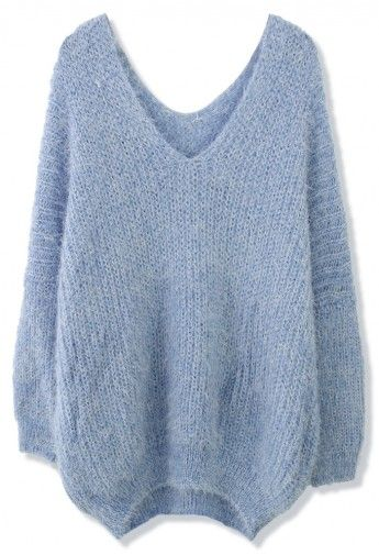 Chicwish V-Neck Fluffy Oversize Sweater in Blue | Winter Fashion ...