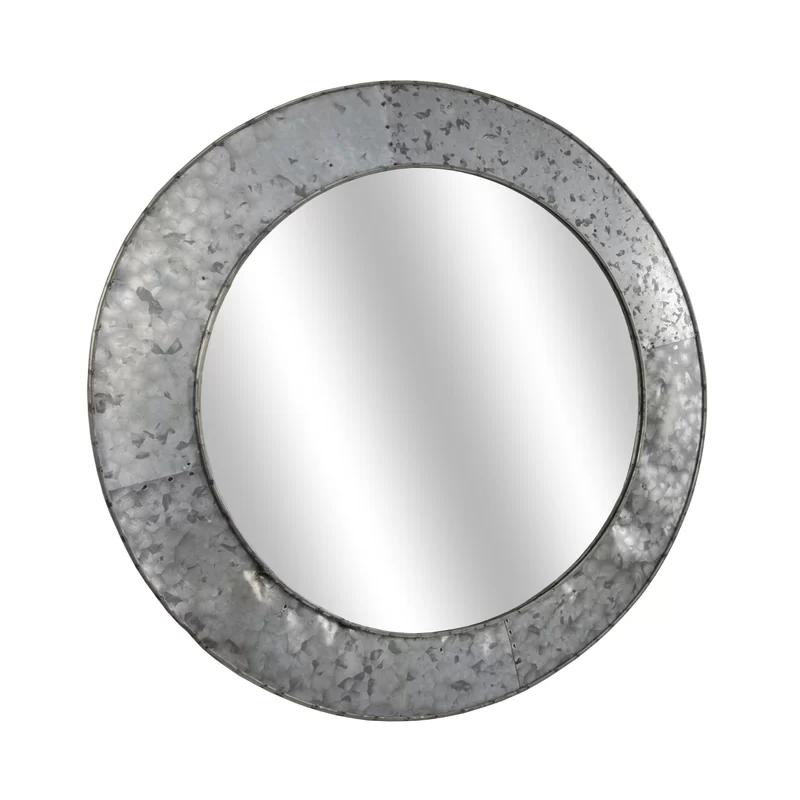 Williston Forge Baumgartner Galvanized Round Metal Wall Mirror Reviews Wayfair Metal Mirror Galvanized Metal Round Wall Mirror